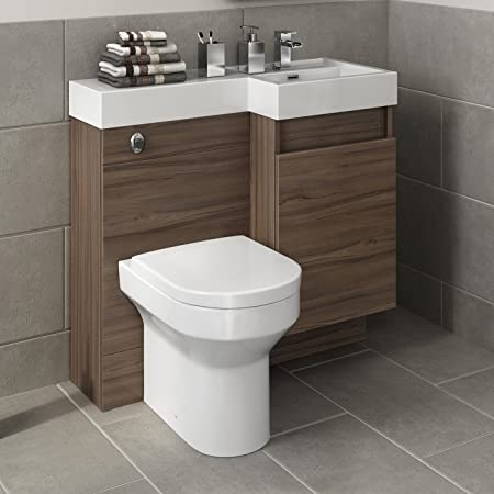 900 mm Modern Walnut Bathroom Drawer Vanity Unit Basin Sink + Toilet Furniture Set