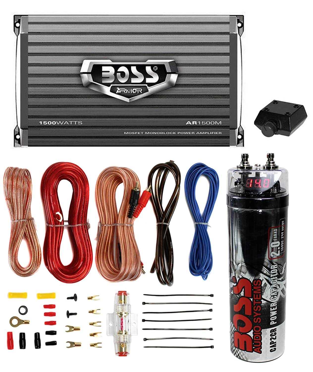 Car Amp Wiring Kit With Capacitor Boss Ar2000m 2000w Mono Amplifier Remote 20 Farad