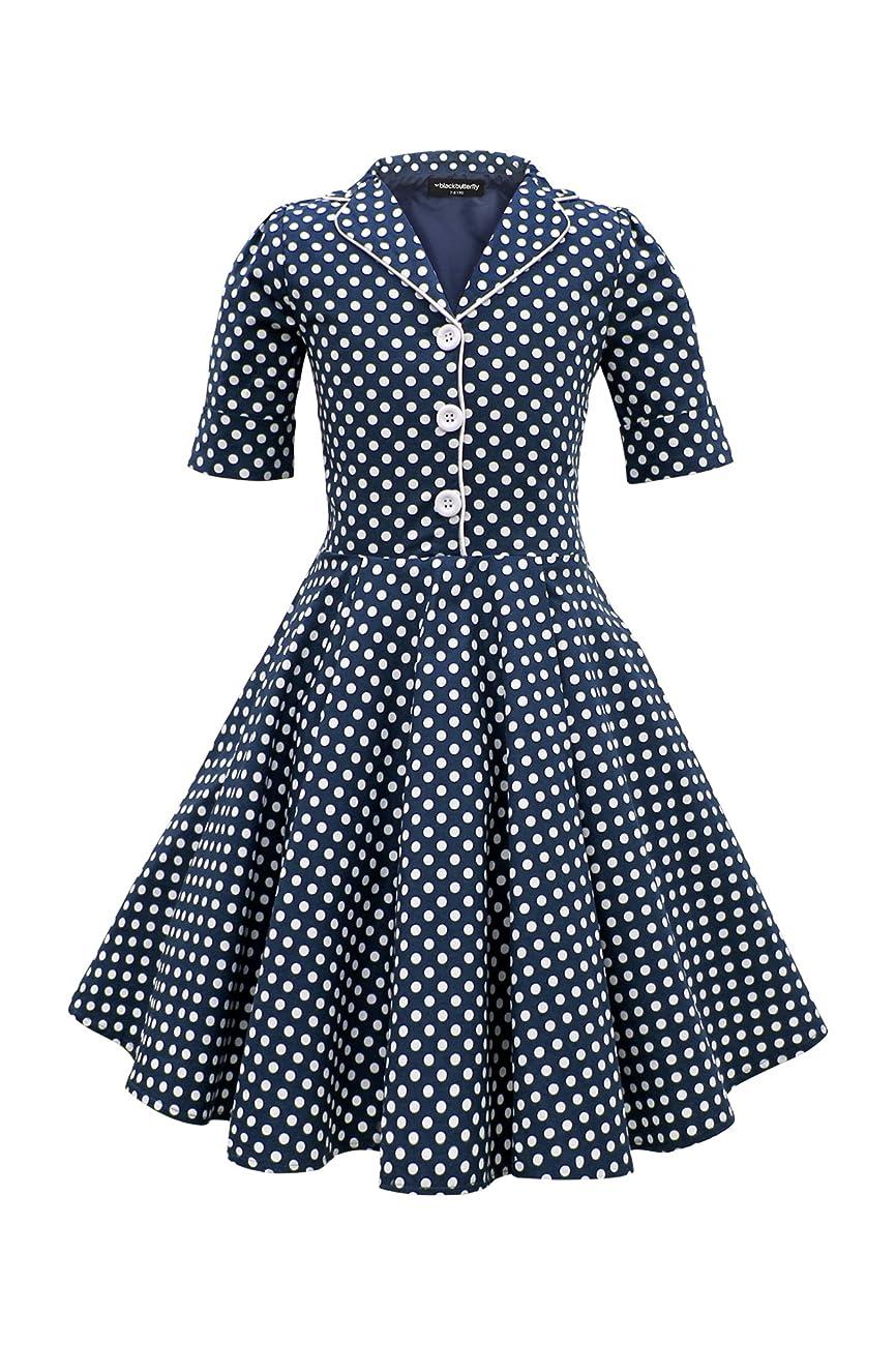 BlackButterfly Kids 'Sabrina' Vintage Polka Dot 50's Dress 0
