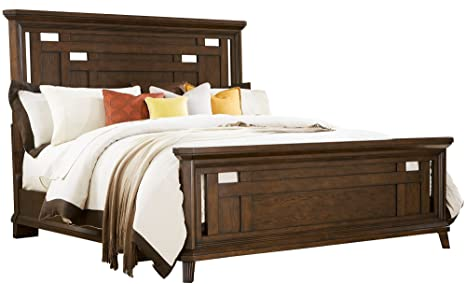 Broyhill Estes Park 4364-250/-251/-450 Panel Bed with Cut-Out Holes Design Heavy Molding Details and Clipped Corners for an Angular Look in Artisan Oak Finish