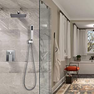 Esnbia Brushed Nickel Shower System, Shower Faucet Set with Valve and 12 Rain Shower Head Systems Wall Mounted Shower Combo Set for Bathroom All Metal(Rough in Valve Include) (Color: Brushed Nickel, Tamaño: 12 Inch)