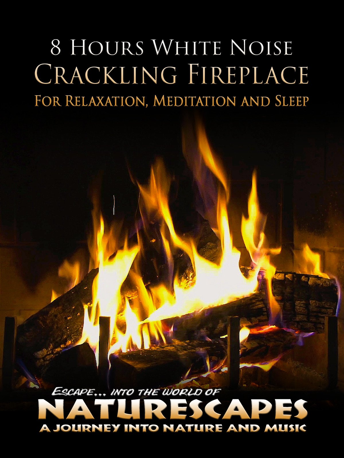 8 Hours White Noise Crackling Fireplace for Relaxation, Meditation and Sleep