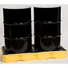 "Eagle 1632 Yellow and Black Polyethylene Two Drum Modular Platform with Flat Top Grating, 5000 lbs Load Capacity, 18"" Length, 43"" Width, 44"" Height"