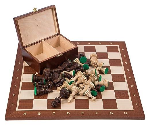 Pro Set de jeu d'échecs no 6 - ACAJOU - Échiquier + Pièces d'échecs - Staunton 6