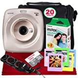 FUJIFILM Instax Square SQ20 Hybrid Instant Camera (Beige) - Basic Accessory Bundle with 20 Sheets of Instant Film + 16GB Micro sd Card + Case + Xpix Camera Strap and More. (USA Warrantty) (Color: Beige, Tamaño: Beige)