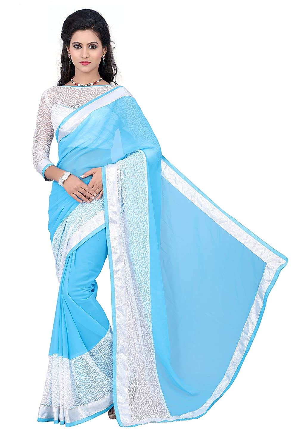 Georgette Heavy Border Saree With Beautiful Fancy Blouse