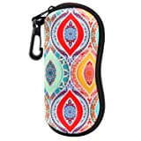 MoKo Eyeglasses Case, Soft Zippered Neoprene Sunglasses Pouch Protective Eyewear Case Bag with Clip for Men and Women - Ethnic Pattern