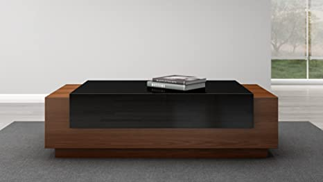FURNITECH Contemporary Coffee Table in American White Oak with Black Lacquer Element