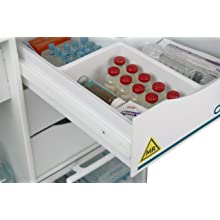 "TrippNT 51728 Polyethylene MRI Core DX Storage Lab Cart, 23"" Width x 33"" Height x 19"" Depth, 6 Shelves"