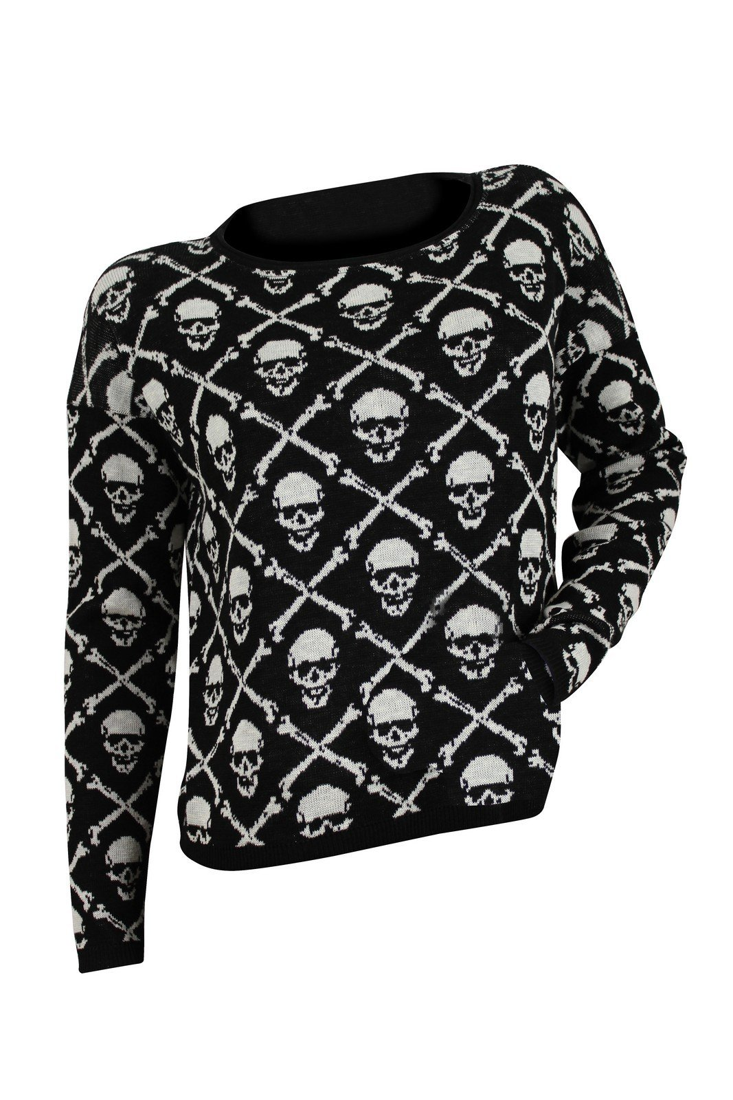 Ralph Lauren Women's Black White Skull Head Jacquard Sweater