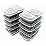 10 Pack Compartment Lunch Box Bento Boxes with Lids - Multi Purpose Storage Containers for Baby Food, Kitchen, Pet, Dog, Crafts, Pantry, Office, Garage, Picnics, Travel by Perfect Life Ideas (Color: Multicolor, Tamaño: 2 Compartment)