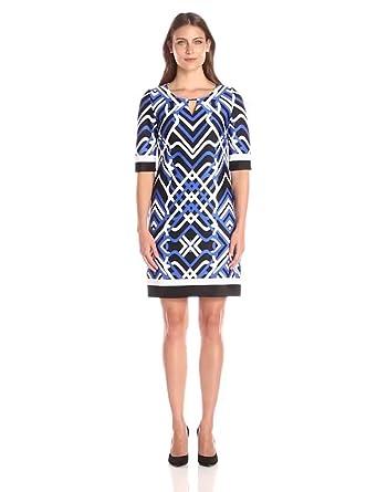 Sandra Darren Women's Short Sleeve Printed Dress with Keyhole at
