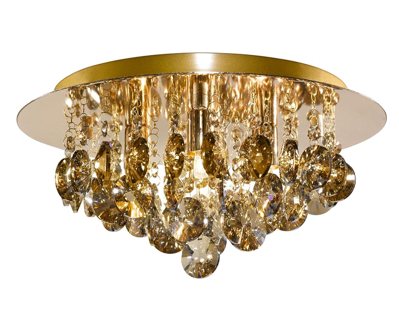 Searchlight3204-4GO Hanna Gold 4 Light Semi Flush Crystal Light