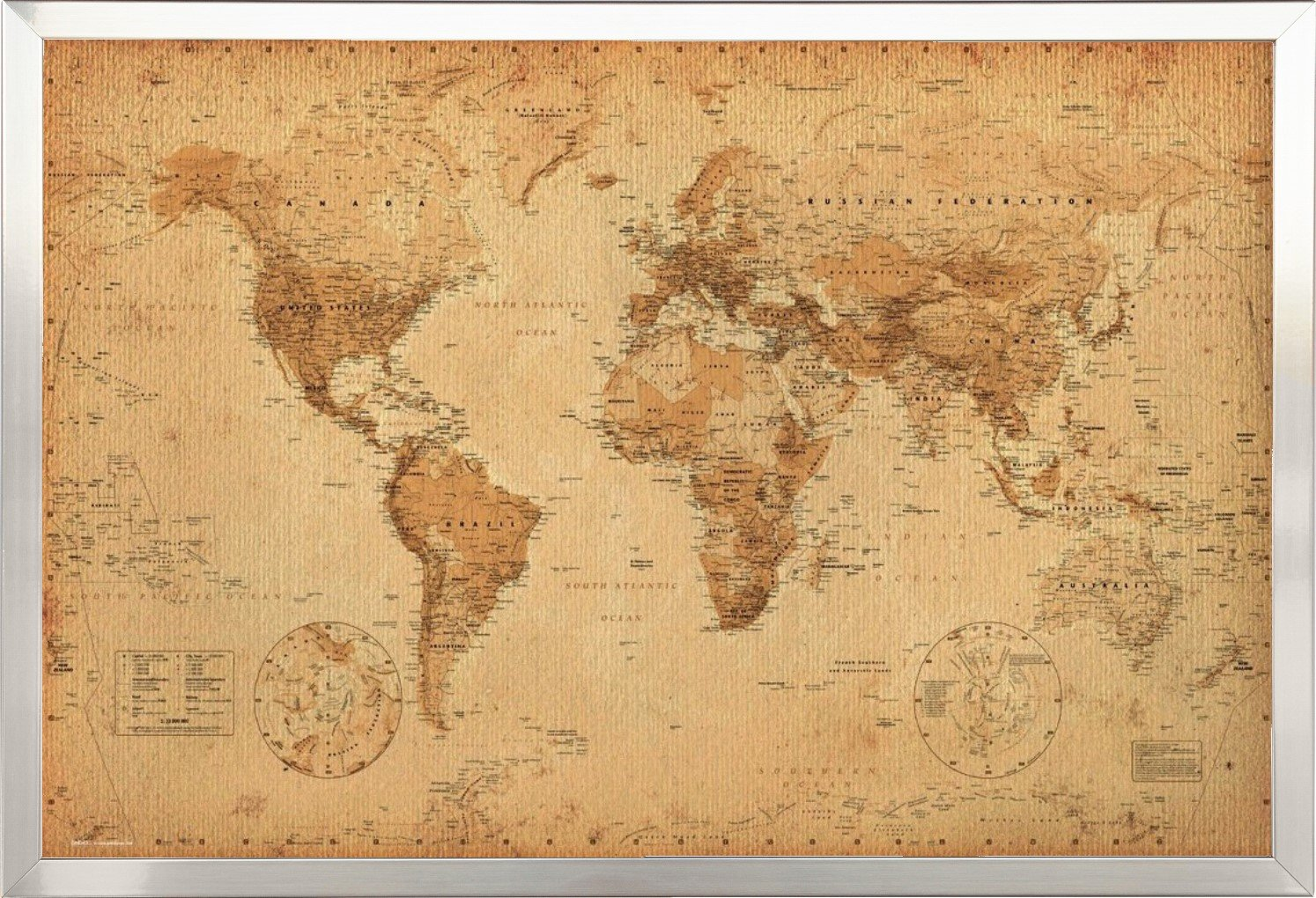 Amazon.com: World Map Vintage Style Poster Print: Posters & Prints