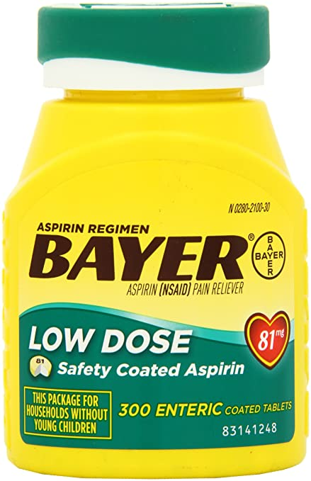 Bayer Aspirin Regimen Low Dose 81mg, Enteric Coated Tablets, 300-Count