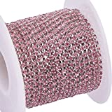 BENECREAT 10 Yard Crystal Rhinestone Close Chain Clear Trimming Claw Chain Sewing Craft About 2880pcs Rhinestones, 2mm - Light Rose (Silver Bottom) (Color: Light Rose (Silver Bottom), Tamaño: 2mm)