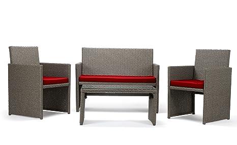 Rattan4Life Sitzgruppe Neapel, 4-teilig Deluxe Polyrattan Gartenmöbel Set, Sofa / Lounge / Gartengarnitur / Kissenbezuge, Rattan grau / braun, Bezug rot