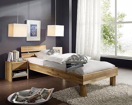 Einzelbett Jugendbett Bett 'Lewis' 100x200cm Wildeiche geölt massiv Holz