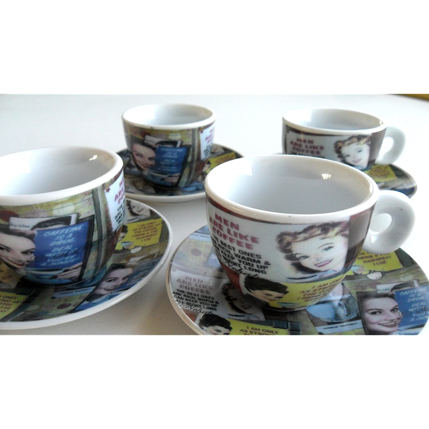 Espresso Coffee Cups Set of 4 Demitasse Cups with Clever Lady's Sayings