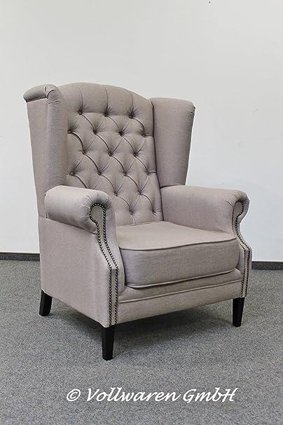 CLUBSESSEL Cäsar - Stoff grau - Ohrensessel Loungesessel Armlehnsessel Sessel