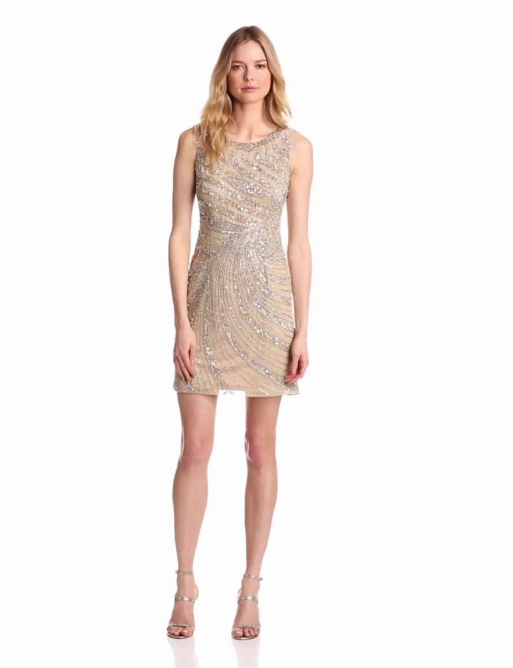 Adrianna Papell Womens Short Swirl Beaded Dress