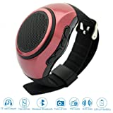 ? SVPRO Portable Wireless Bluetooth Speaker Watch,Multi-functional Bracelet Speaker Wristwatch with MP3 Music Player,Hands-free call,Radio,Self-timer,Supporting USB,TF Card Taking Photoes (B20, red) (Color: red, Tamaño: B20)
