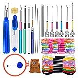 Jupean 41 Pcs Punch Needle Tool, Embroidery Beginner Kit with 20 Pcs Embroidery Floss, 10 Pcs Embroidery Punch Needle, Needle Threader and Embroidery Hoop for Embroidery Floss Poking Cross Stitching (Tamaño: 41 Pcs)