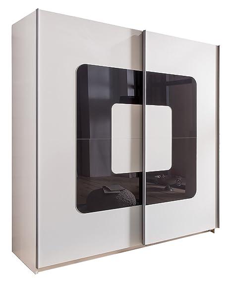 Wimex 190771 Schwebeturenschrank, Alpinweiß, 180 x 198 x 64 cm, Absetzung Glas, grau
