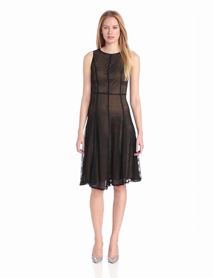 Isaac Mizrahi Womens Princess Seam Dress with Contrast Lining, Black/Gold, 2