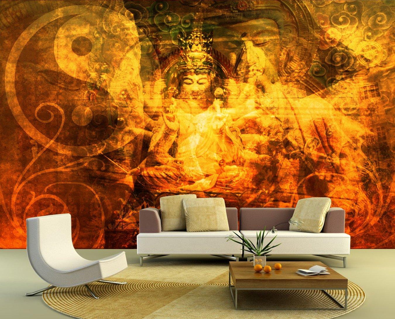 Bilderdepot24 selbstklebende Fototapete Buddha Urban 310x200 cm  direkt vom Hersteller   Kritiken und weitere Informationen