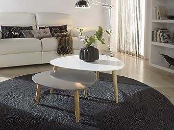 Mesas de centro nido Blanco/Gris