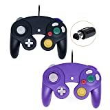 Poulep Wired Controller For Gamecube Game Cube, Classic Ngc Gamepad Joystick For Wii Nintendo Console (Black + Purple,Pack Of 2)        (Color: Black + Purple)