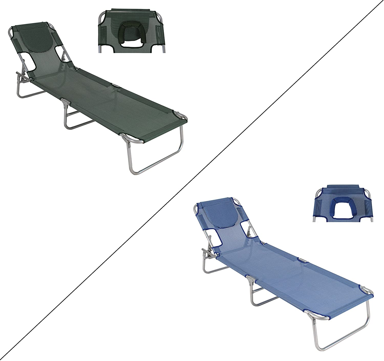 Massageliege / Sonnenliege mit mehrfach verstellbarem Kopfteil und aufklappbarer Kopföffnung (Blau) bestellen