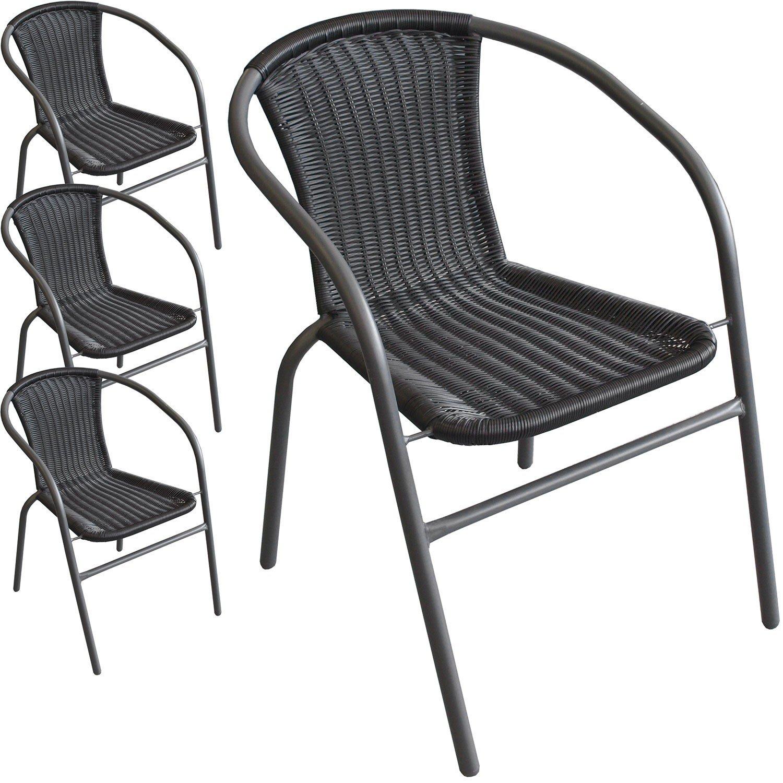 4 Stück Bistrostuhl Stapelstuhl Gartenstuhl Balkonstuhl stapelbar pulverbeschichtetes Metallgestell mit Poly-Rattanbespannung Schwarz / Anthrazit kaufen