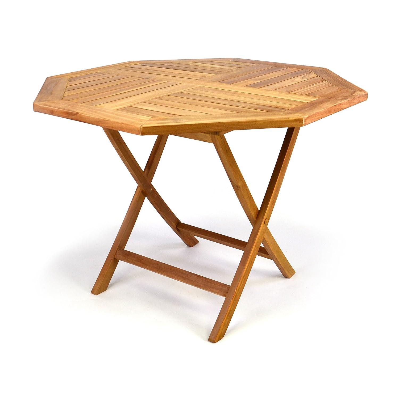 DIVERO GL05529 8-eckiger Balkontisch Gartentisch Beistelltisch Holz Teak Tisch für Terrasse Balkon Wintergarten witterungsbeständig behandelt massiv Ø 100 cm natur online kaufen