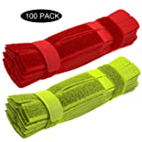 100 Pieces careda Cable Wire Management Organizer Fastening Cable Tie Holder Flexible Multi Straps Microfiber Cloth 7-Inch Hook Loop Cord Ties Holder for Car,Office Home Computer (red +yellowgreen) (Color: red+yellowgreen 100 pcs, Tamaño: 11star wars gooseneck slope 5c connector with)
