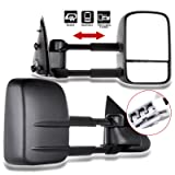 RH+LH OCPTY Pair Set Black Manual Telescoping Side View Towing Mirrors Replacement fit for 02-08 Dodge Ram 1500 Replacement fit for 03-09 Dodge Ram 2500//3500