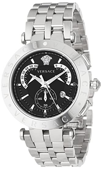 "Versace Men's 23C99D008 S099 ""V-Race"" Stainless Steel Dress Watch with Interchangeable Bezels"