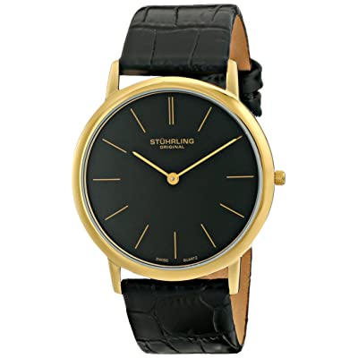Stuhrling Original Men's 601.33351 Classic Ascot Quartz Ultra Thin Gold Tone Black Leather Strap Watch
