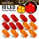 Partsam 13x Trailer Marker LED Light Double Bullseye Amber/Red 10LED Clearance Lights, Double Bullseye LED Trailer Clearance and Side Marker Lights, 4x2 Rectangular Rectangle Led lights, 2 Wire