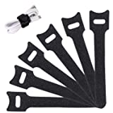 Reusable Cable Ties Management Straps -(20 Piece) 6 Inch Strong &Microfiber fastening cloth, Adjustable Fastener Cable Strap Hook and Loop Cord Ties, Black. (Color: Black, Tamaño: 6