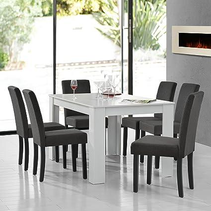 [en.casa] Table de salle à manger mat blanc en design chêne + 6 chaise de salle à manger en gris foncé - 140x90cm