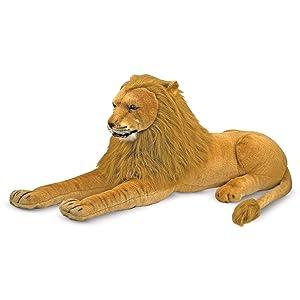 "Melissa & Doug Lion Giant Stuffed Animal (Wildlife, Regal Face, Soft Fabric, 22"" H x 76"" W x 15"" L) (Color: See Item, Tamaño: H: 31.7 x W: 20.7 x D: 10.7)"
