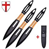 Tactical Survival Throwing Knife Set - Three Full Tang Stainless Steel Throwers with Black Throwing Blades - Good for Everyday Throwing and Self-Defense - Grand Way FL 13719 (Color: Color 1)
