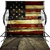 Kooer 5X7ft American Flag Backdrop Vintage United States US Flag Baby Children Photoshoot Vinyl Fabric Photography Background Patriotic Wood Floor for Studio Props