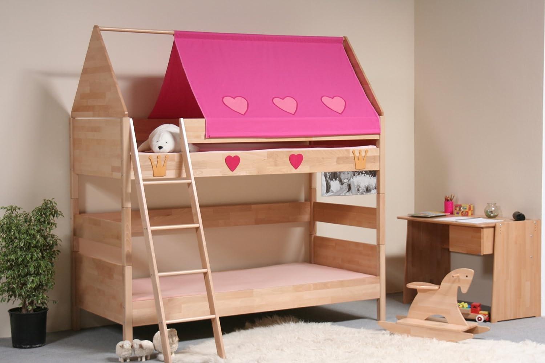 TAUBE Kinderbett Etagenbett Prinzessin 154 cm (Ausstattung: mit Treppe, Farbe: weiß-lackiert, Liegefläche (B x L): 90 x 190 cm)