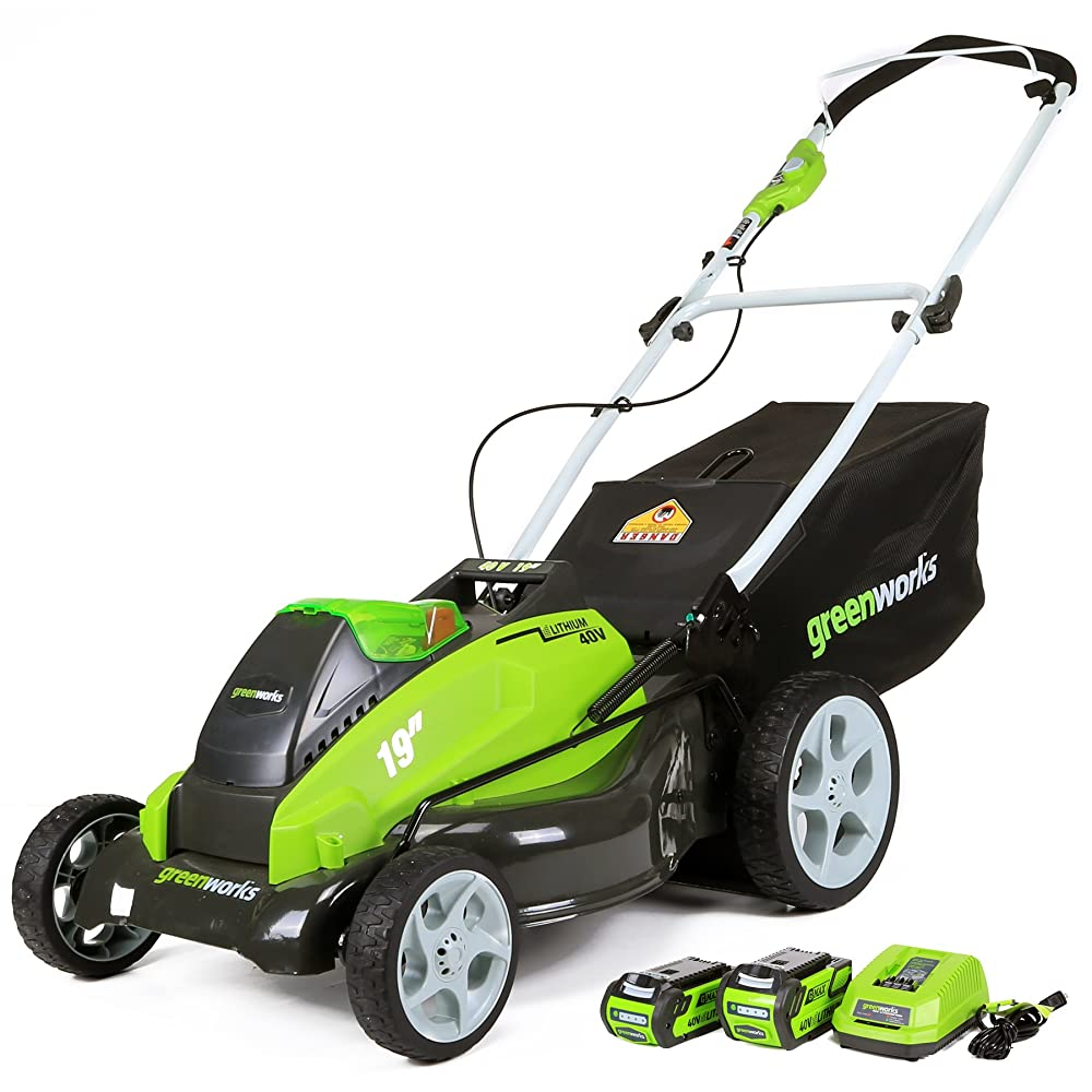 GreenWorks 25223 G-MAX 40V Li-Ion 19-Inch Cordless Lawn Mower w/ (1) 4Ah (1) 2Ah Batteries & Charger