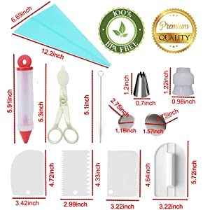 95 pcs Cake Decorating Supplies Kit by Cake Decorating District - includes 48 Icing Tips - Silicone Pastry Bag and Disposable Bags - Spatula Scraper Cutter - Turntable - Silicone Chocolate Candy Mold