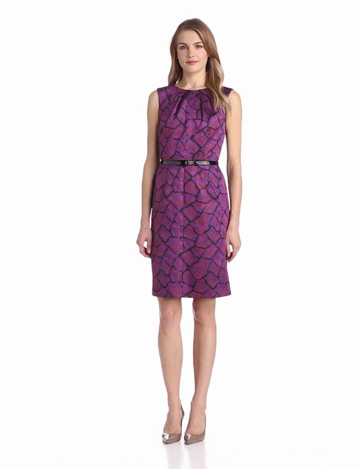 Anne Klein Womens Hard Rock Jacquard A Line Dress