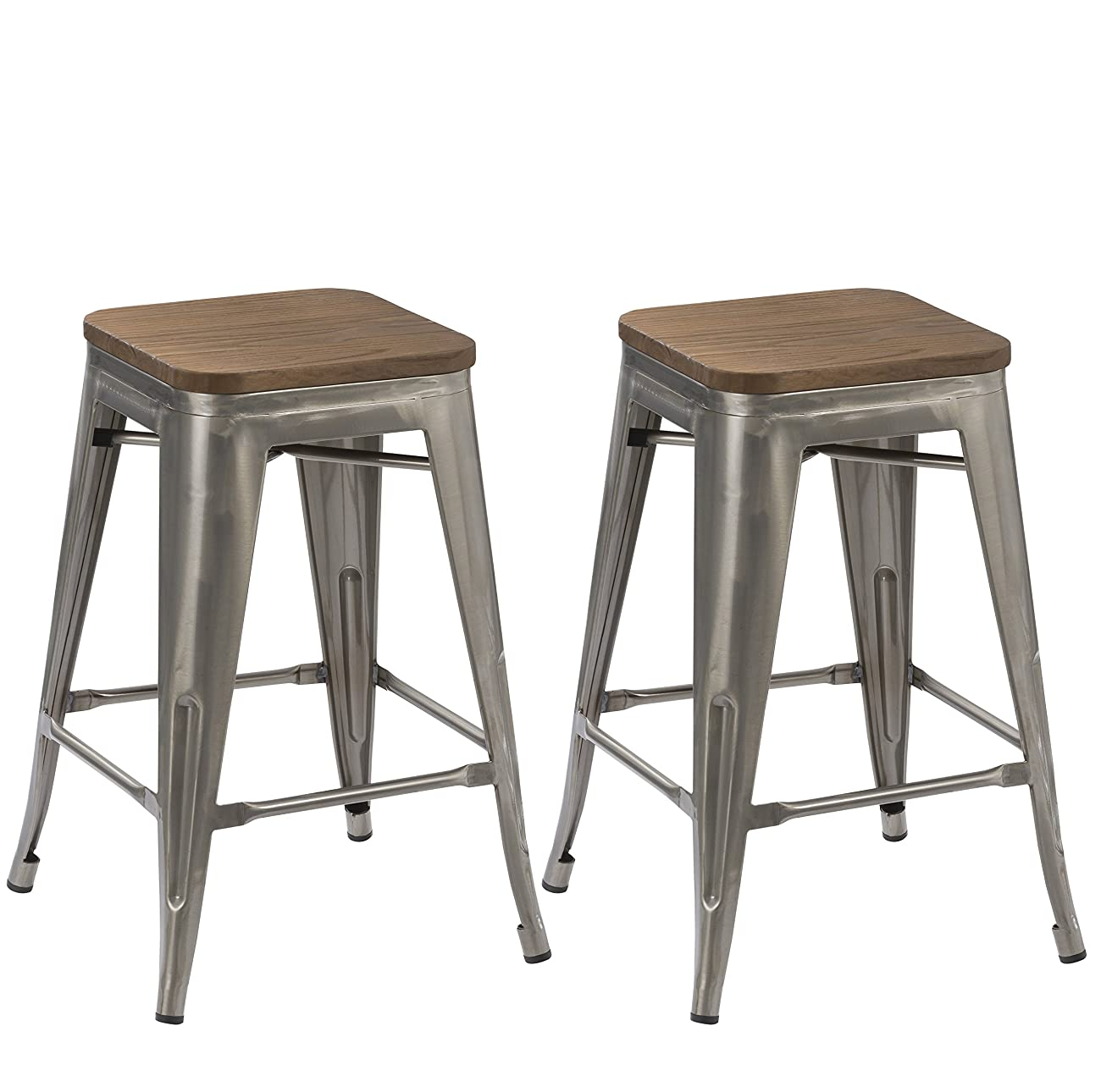 BTEXPERT 30-inch Industrial Stackable Tabouret Vintage Antique Rustic Clear Brush Distressed Metal Bar Stools wood top seat (Set of Two) 0